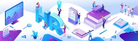 HR department isometric horizontal banner template, Recruitment agency, 3d employer hiring talent personnel, candidates search work via mobile app, office business people, vector illustration Иллюстрация