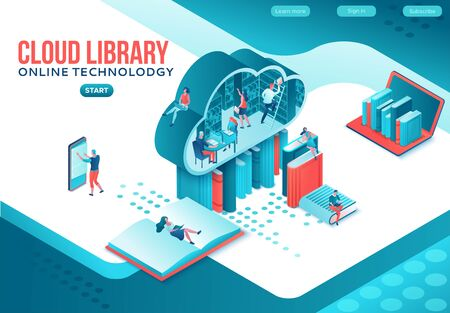 Online library isometric landing page, people read books on laptop, smartphone, gadgets, cloud computing technolodgy, website template design Иллюстрация