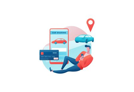 Car share concept, man order vehicle by smartphone, rental service template, mobile app concept, bank card, online payment, transport sharing concept, cartoon character