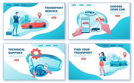 Car share landing page set, cartoon people, rent automobile, businessman order ride, rental service template, mobile app concept, man, girl, flat vector design, turquoise, red color Ilustrace