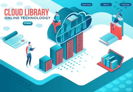 Library online isometric landing page, digital education concept, people read book on laptop, study dictionary at university, cloud computing, information database, website template design