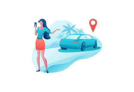Mobile transport app design, girl hold smartphone, automobile share, businesswoman order ride, rental service template, muslim people, transport sharing concept, vector cartoon character