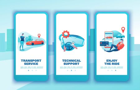Car share mobile template set, cartoon people, rent automobile, businessman order ride, rental service mobile app, smartphone concept, man, girl, flat vector design, turquoise, red color