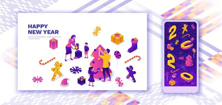 Family celebrating New year landing page, 2020 isometric 3d illustration, winter holiday party, christmas giveaway, parents, kids decorating tree, togetherness concept, present, mobile story template Banque d'images - 133146292