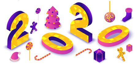 2020 isometric 3d letters, typography numbers, new year party illustration, christmas holiday poster, winter event vector concept, violet, yellow, pink colors