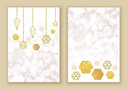 Winter minimalistic poster in trendy scandinavian geometric style with marble stone texture, christmas toy silhouette, hexagons, metal foil and glitter, holiday invitation template Ilustrace