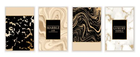 Marble gold background set in trendy minimalist style with stone, foil, glitter, metallic textures, template for poster, invitation, wallpaper, package, luxury gift