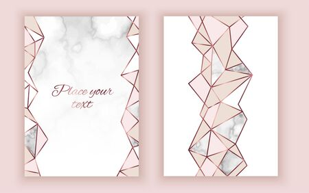 Geometric invitation, marble texture, background in trendy minimalistic style, pigeon silhouette, granite, gold rose glitter, frame, vector fashion wallpaper, poster, cover