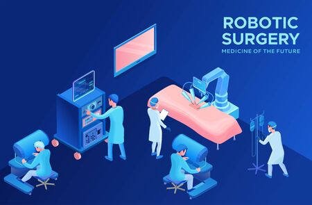 Robotic surgery operating, smart surgical robotic technology, isometric 3d vector illustration with ai and robot in medical treatment, artificial intelligence in healthcare Illustration