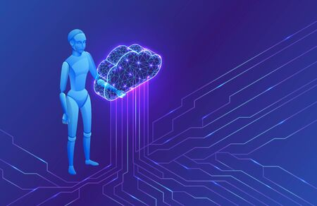 Artificial intelligence in cloud computing infographics, isometric robot, 3d vector illustration, futuristic ai technology, smart robotic data storage concept