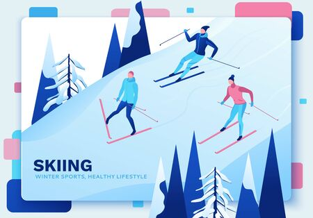 Skiing isometric people set, 3d vector sport family playing outdoor games, winter activity, ski riding, skier at mountain, outdoor snow games, simple cartoon characters, landing page design Ilustracja