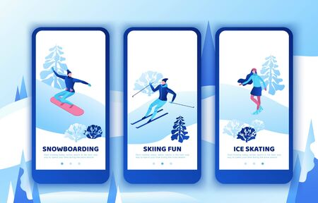 Snowboard isometric people, mobile app template set, vertical layout, smartphone ui design, winter sport, vector skiing man snowboarding, minimal woman ice skating, simple outdoor snow games