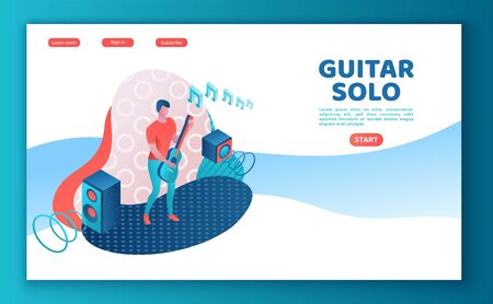 Guitar player 3d isometric infographic illustration, landing page template, man playing rock music at festival, concert show poster template, color icon