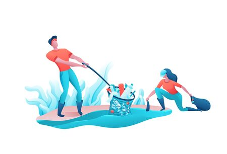 Beach coast cleanup concept, cleaning people with bag, volunteer picking garbage from water, team reduce plastic pollution of environment, recycle trash, flat cartoon vector ecology illustration