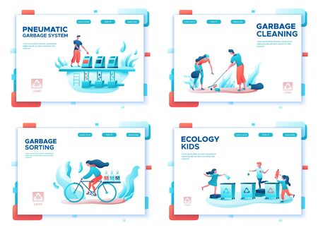 Garbage sorting landing page set, people recycling trash, plastic, cleanup beach, volunteer throwing can into bin, environment concept, reverse vending, flat cartoon vector ecology illustration Иллюстрация