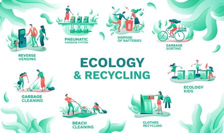 Ecology infographics set, vector illustration with garbage sorting, clothes recycling, trash disposal, cartoon people cleaning nature, flat vector background  イラスト・ベクター素材