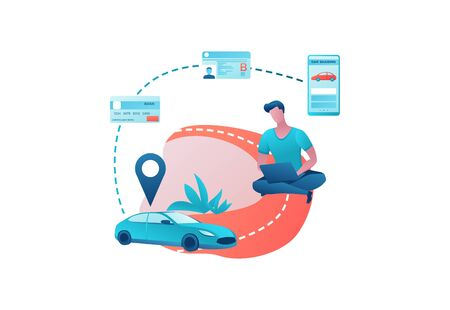 Carsharing service template, man rent car by smartphone, automobile share, businessman order ride, mobile app concept, driving license, bank card, transport sharing concept, flat vector design  イラスト・ベクター素材