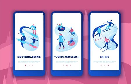 Simple family mobile app template set, vertical layout, smartphone ui design, isometric minimal people snowboarding, skiing, mother, daughter, happy kids on tubing, sleigh, 3d vector team sports