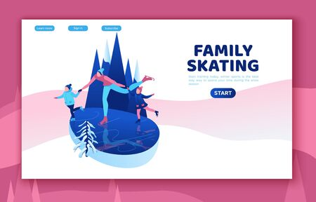 Ice skating isometric people, 3d vector winter sport family, christmas tree decorated, mother and kids playing and riding skate, simple skater, skating rink, outdoor snow games, cartoon characters