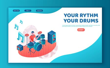 Drummer playing drums, 3d isometric illustration with modern rock musician with drumstick, music show or concert template