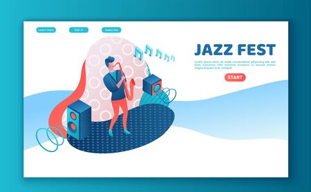 Saxophonist playing tuba, saxophone 3d isometric vector illustration with man playing musical instrument, landing page template, jazz festival, concert show poster template, color icon