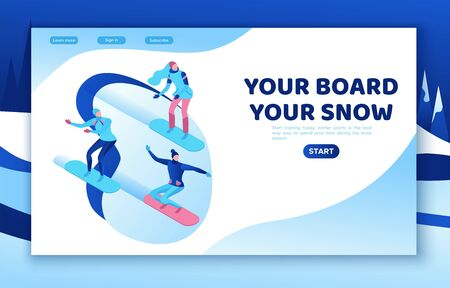 Snowboard isometric people set , 3d winter vector sport man snowboarding, woman riding on mountain, simple outdoor snow games, cartoon characters, modern minimal design