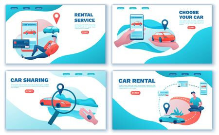 Carsharing landing page set, cartoon people, rent automobile, businessman order ride, rental service template, mobile app concept, man, girl, flat vector design, turquoise, red color