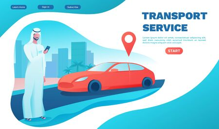 Man rent car by smartphone, arab businessman order ride, muslim people, rental service template, Carsharing mobile app concept, transport sharing concept, flat ui design, turquoise, landing page