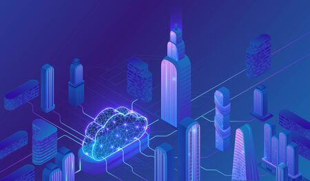 Cloud computing concept, server, smartphone, modem, tablet connected in neural network, isometric vector technolodgy background, modern blue design Фото со стока - 134355058