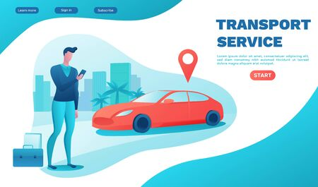 Man rent car by smartphone, automobile share, businessman order ride, carsharing service template, mobile app, transport sharing concept, flat vector, turquoise, red color, landing page, ui design