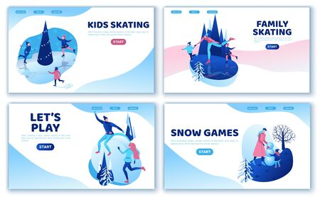 Winter sports landing page template set, together, ui design, ice skating simple family, isometric minimal people illustration, vector winter sport, skating rink