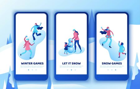 Simple family mobile app template set, vertical layout, smartphone ui design, isometric minimal people playing outdoor snow games, mother, daughter making snowman, happy kids, 3d vector winter sports