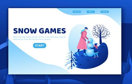 Mother with daughter making snowman, winter isometric people set, happy kid, 3d vector sport family playing, outdoor snow games, simple cartoon characters,