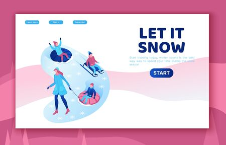 Kids riding tubing, winter isometric people set, 3d vector sport family playing, family playing outdoor snow games, simple cartoon characters, mother with children Иллюстрация