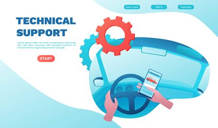 City transport concept, carsharing service, driver holding smartphone call tech support, rent vehicle, businessman order ride, rental mobile app, flat ui design, cabin inside, landing page Stock Vector - 134139249