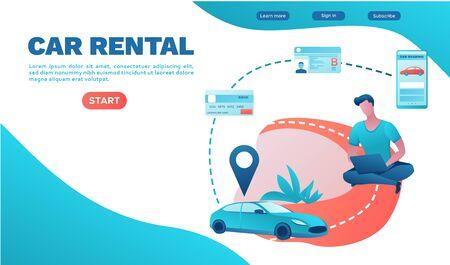 Rental service landing page, car share, businessman order ride, rental service template, carsharing mobile app, transport sharing concept, flat vector, turquoise, red color, ui design Иллюстрация