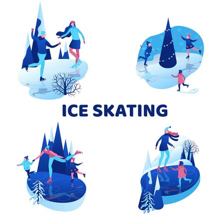 Ice skating isometric people illustration set, 3d vector winter sport family, christmas tree decorated, kids playing and riding skate, simple skater, skating rink, outdoor snow games, ui, ux design