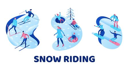 Snow riding illustration set, isometric people on snowboard, 3d winter vector sport man snowboarding, riding on mountain, skiing, tubing, sleigh, simple outdoor games, cartoon characters, ux design  イラスト・ベクター素材