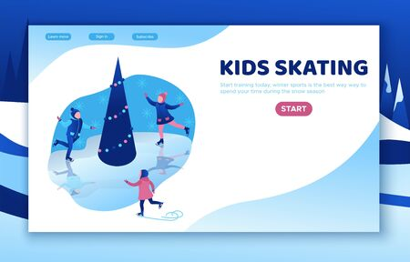 Ice skating isometric kids, 3d vector winter people, sport family, christmas tree decorated, children playing and riding skate, simple skater, rink, outdoor snow games, minimal design