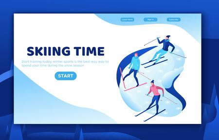 Skiing isometric people set, 3d vector sport family playing outdoor games, winter activity, ski riding, skier at mountain, outdoor snow games, simple cartoon characters