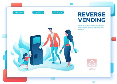 Reverse vending cartoon concept, people put plastic bottle and aluminum can into machine, ecology flat vector illustration, garbage disposal, recycling, environment protection