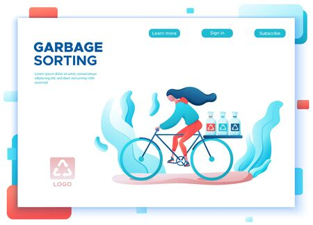 Garbage sorting girl transporting trash bags for recycling, no pollution concept, bicycle riding, clean environment, flat cartoon vector ecology illustration, landing page template