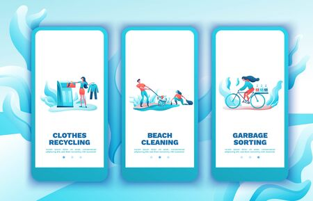 Garbage sorting mobile app template set, people recycling trash, plastic, cleanup beach concept, volunteer throwing can, environment, clothes disposal, flat cartoon vector ecology illustration