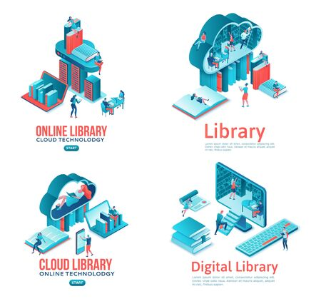 Online library isometric landing page set, people read books on laptop, smartphone, gadgets, cloud computing technolodgy, website template design