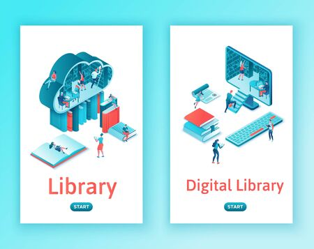 Library online isometric , cloud computing mobile template set, people read books on laptop, smartphone, gadgets, modern technolodgy, vertical layout Иллюстрация