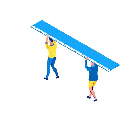 Man carrying ruler, stationery creative concept, isometric learning people, 3d student isolated, learn lesson, school, college pupil, blue, yellow, modern creative character