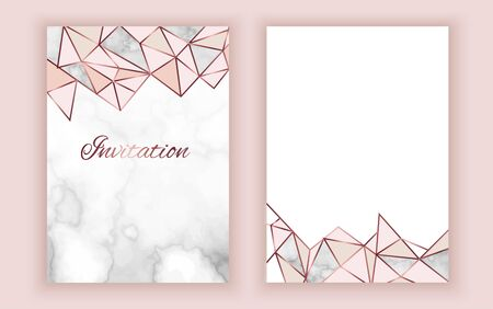 Geometric invitation, marble texture, background in trendy minimalistic style, pigeon silhouette, granite, gold rose glitter, frame, vector fashion wallpaper, poster, cover Фото со стока - 135078716
