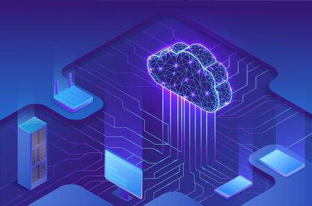 Cloud computing concept, server, smartphone, modem, tablet connected in neural network, isometric vector technolodgy background, modern blue design Фото со стока - 135130669