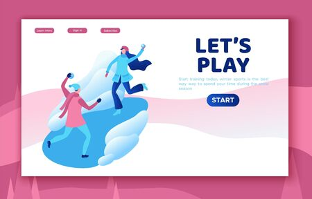 Winter isometric people, man and girl playing snowballs, snowman, happy romantic couple, 3d vector sport family playing, outdoor activity, snow games, simple design cartoon characters Ilustracja