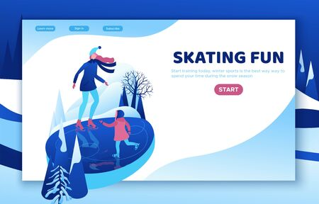 Ice skating isometric people, 3d vector winter sport family, christmas tree decorated, mother and kid playing and riding skate, simple skater, skating rink, outdoor snow games, cartoon characters Фото со стока - 135130349